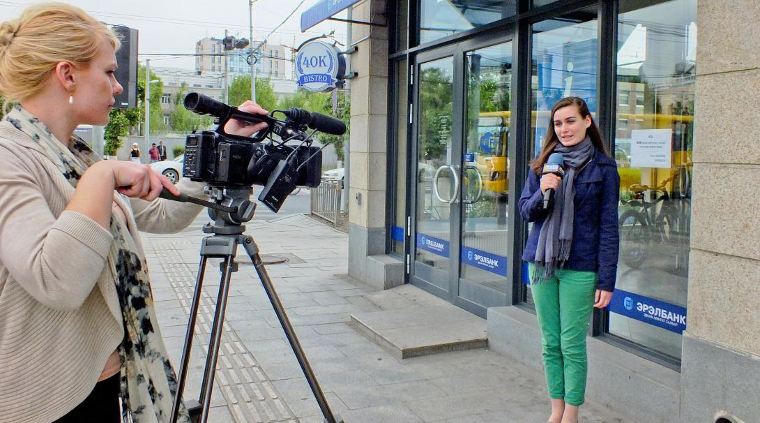 A Journalism intern doing gap year work abroad, spends time learning about presenting for TV in Mongolia.